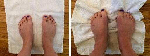حرکت خم کردن انگشت برای درد زیر شست پا