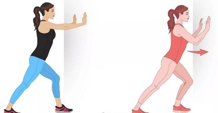 کشش عضلات پشت ساق پا به کمک دیوار برای درمان درد پاشنه پا